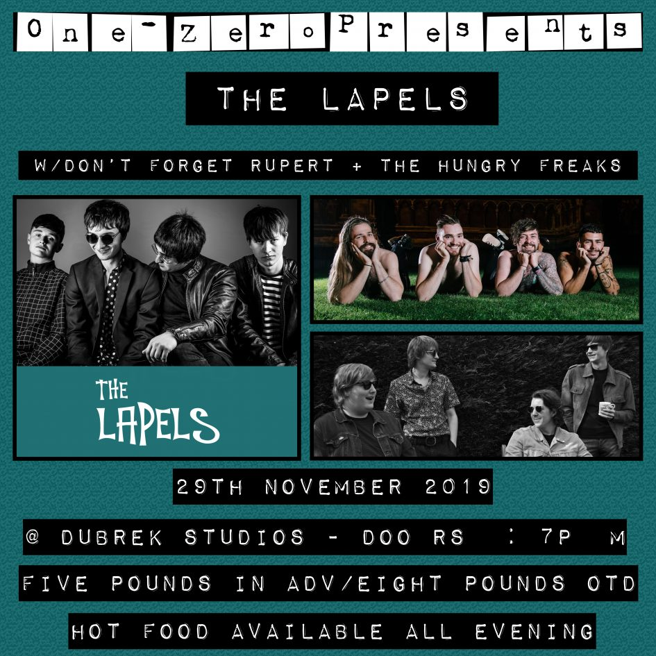 The Lapels, Don't Forget Rupert, The Hungry Freaks play Dubrek 29 November 2019.
